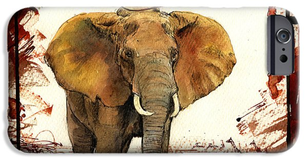 Elephants iPhone Cases - Elephant blood safari iPhone Case by Juan  Bosco