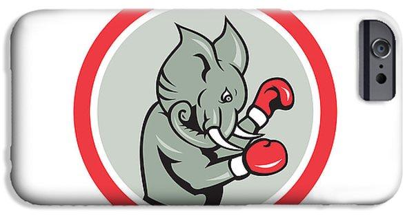 Boxer Digital iPhone Cases - Elephant Boxer Boxing Circle Cartoon iPhone Case by Aloysius Patrimonio