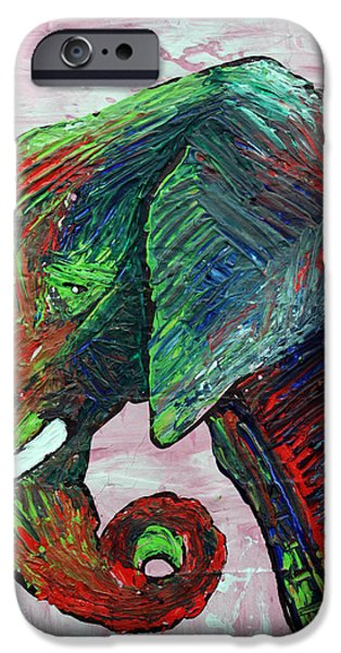 Elephants Mixed Media iPhone Cases - Elephant Colors iPhone Case by Laura Barbosa
