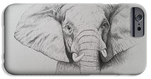 African Animal Drawings iPhone Cases - Elephant iPhone Case by Ele Grafton
