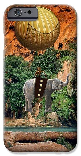 Elephants iPhone Cases - Elephant Flight iPhone Case by Marvin Blaine