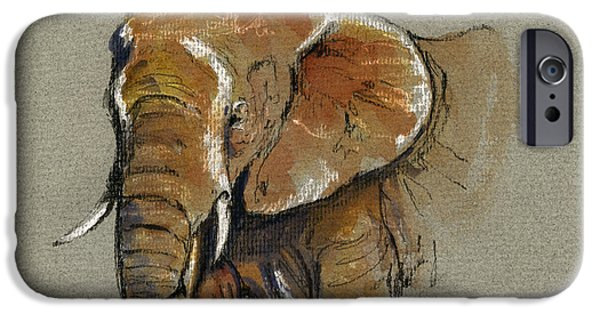 Nature Study Paintings iPhone Cases - Elephant head african iPhone Case by Juan  Bosco