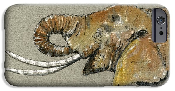 Nature Study Paintings iPhone Cases - Elephant head  iPhone Case by Juan  Bosco