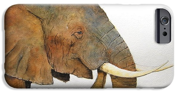 Nature Study Paintings iPhone Cases - Elephant head study iPhone Case by Juan  Bosco