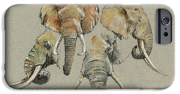 Safari Prints iPhone Cases - Elephant heads iPhone Case by Juan  Bosco
