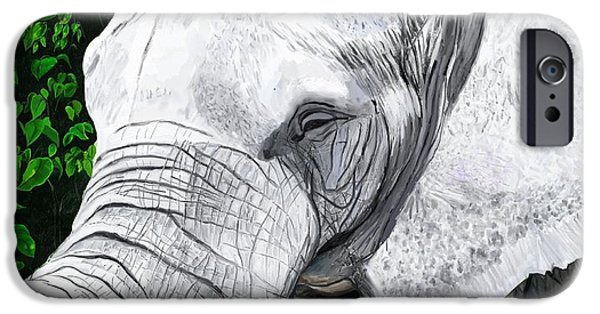 Elephants iPhone Cases - Elephant II iPhone Case by Jeanne Fischer
