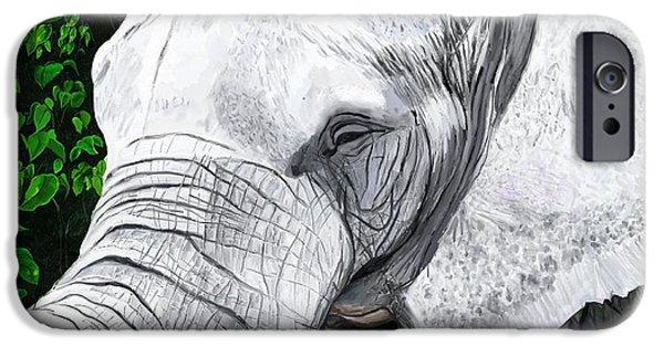 Wild Animals iPhone Cases - Elephant II iPhone Case by Jeanne Fischer