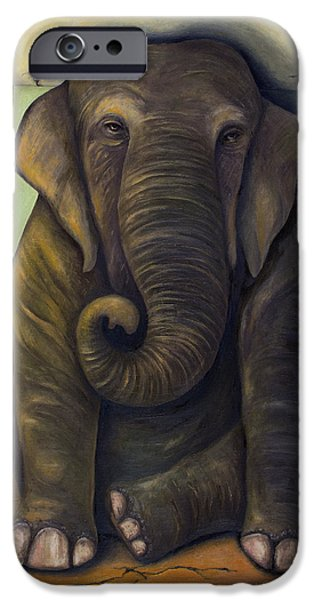 Ancient Paintings iPhone Cases - Elephant In The Room iPhone Case by Leah Saulnier The Painting Maniac