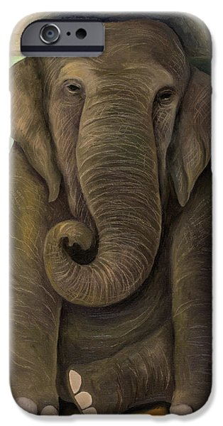 Elephants iPhone Cases - Elephant In The Room WIP iPhone Case by Leah Saulnier The Painting Maniac