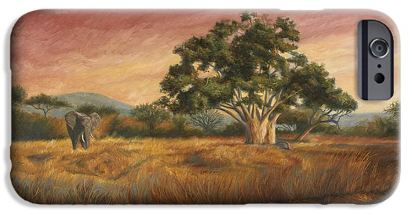 Scenery Paintings iPhone Cases - Elephant In The Wild iPhone Case by Lucie Bilodeau
