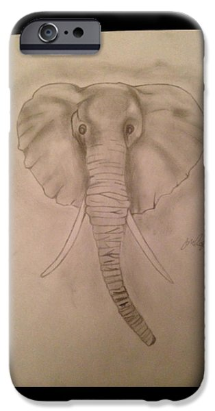 Etc. Drawings iPhone Cases - Elephant iPhone Case by  Jessica Hope