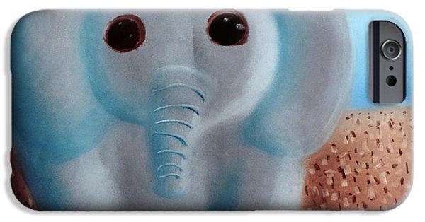 Book Pastels iPhone Cases - Elephant iPhone Case by Joshua Maddison