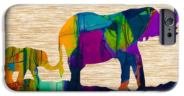 Elephants iPhone Cases - Elephant Journey Parent and Child iPhone Case by Marvin Blaine