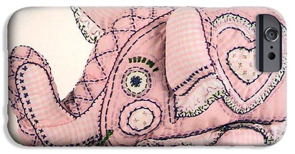 Elephants Tapestries - Textiles iPhone Cases - Elephant iPhone Case by Joy Calonico