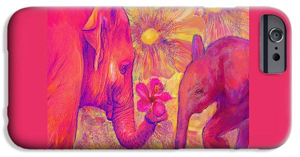 Elephant iPhone Cases - Elephant Love iPhone Case by Jane Schnetlage