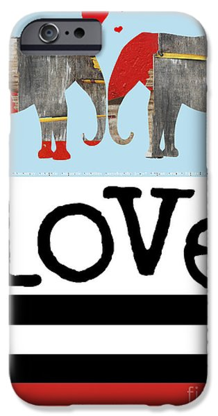 Elephant Love Typography  iPhone Case by Anahi DeCanio