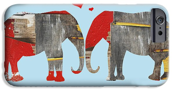 Shower Curtain iPhone Cases - Elephant Love Typography  iPhone Case by Anahi DeCanio - ArtyZen Studios