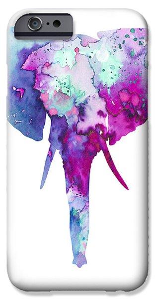 Elephants Mixed Media iPhone Cases - Elephant  iPhone Case by Luke and Slavi