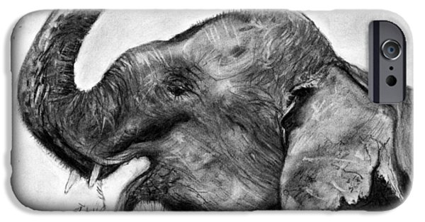 Animal Cards Pastels iPhone Cases - Elephant Play iPhone Case by Marie Stone Van Vuuren