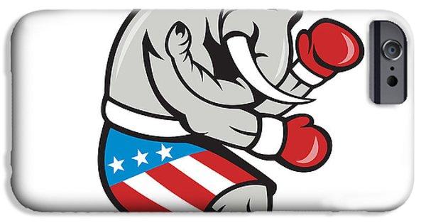 Boxer Digital Art iPhone Cases - Elephant Mascot Boxer Boxing Side Cartoon iPhone Case by Aloysius Patrimonio