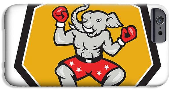 Boxer Digital Art iPhone Cases - Elephant Mascot Boxer Cartoon iPhone Case by Aloysius Patrimonio