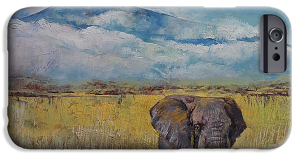 Savannah iPhone Cases - Elephant Savanna iPhone Case by Michael Creese