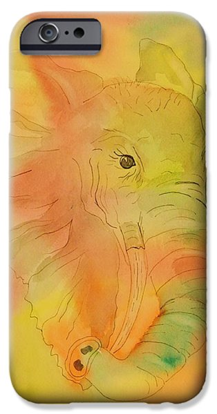 Pen And Ink iPhone Cases - Elephant Mirage iPhone Case by Ellen Levinson