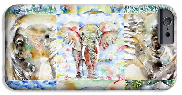 Elephant iPhone Cases - Elephant - Nine Points Of View iPhone Case by Fabrizio Cassetta