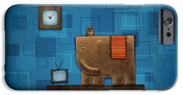 Animation iPhone Cases - Elephant on the Wall iPhone Case by Gianfranco Weiss