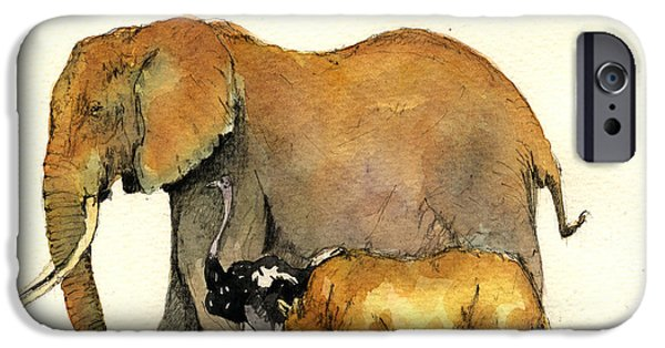 Elephants iPhone Cases - Elephant ostrich and rhino iPhone Case by Juan  Bosco