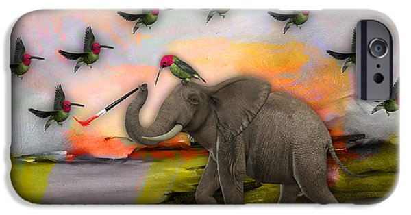 Elephants iPhone Cases - Elephant creating Birds iPhone Case by Marvin Blaine
