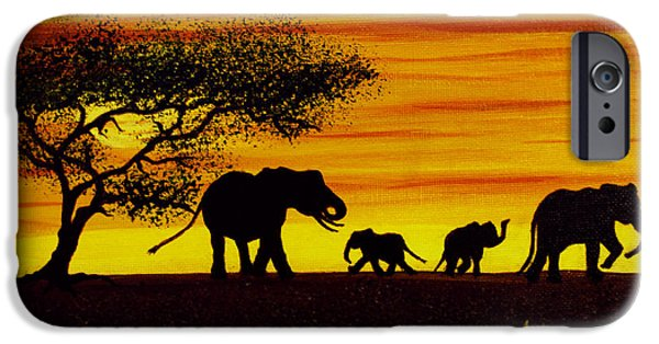 Elephant iPhone Cases - Elephant Silhouette iPhone Case by Adele Moscaritolo