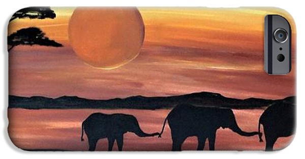 Elephants iPhone Cases - Elephant silhouette painting Family iPhone Case by Rachel  Olynuk