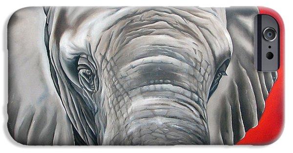 Elephants Paintings iPhone Cases - Elephant six of eight iPhone Case by Ilse Kleyn