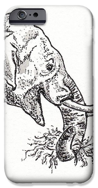 Snack Drawings iPhone Cases - Elephant Snack iPhone Case by Virginia Spencer