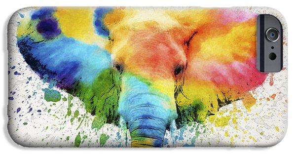 Elephants Digital iPhone Cases - Elephant Splash iPhone Case by Aged Pixel