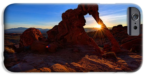 Elephants Photographs iPhone Cases - Elephant Sunrise iPhone Case by Chad Dutson