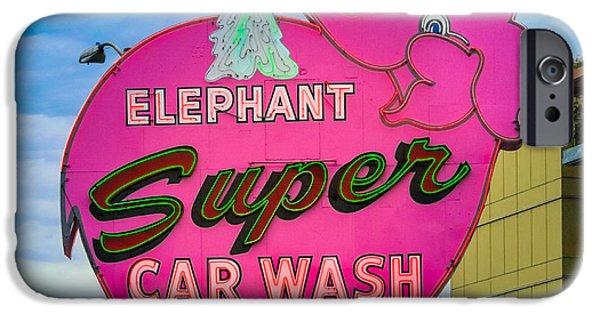 Elephants iPhone Cases - Elephant Super Car Wash iPhone Case by Inge Johnsson