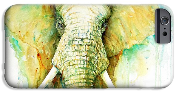 Elephant iPhone Cases - Elephant The Stalwart  iPhone Case by Arti Chauhan