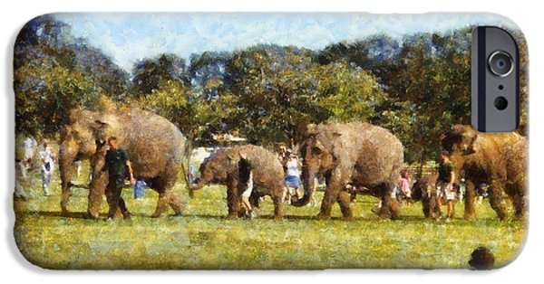 Elephants iPhone Cases - Elephant train  iPhone Case by Pixel  Chimp