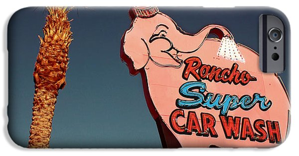Elephants iPhone Cases - Elephant Car Wash Rancho Mirage California iPhone Case by Jim Zahniser