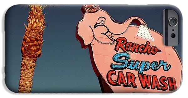 Elephants Digital iPhone Cases - Elephant Car Wash Rancho Mirage California iPhone Case by Jim Zahniser