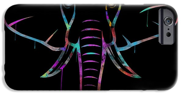 Elephants iPhone Cases - Elephant Watercolors - Black iPhone Case by Becca Buecher