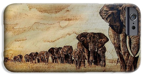 Elephants Pyrography iPhone Cases - Elephants are contagious iPhone Case by Ciprian Macovei
