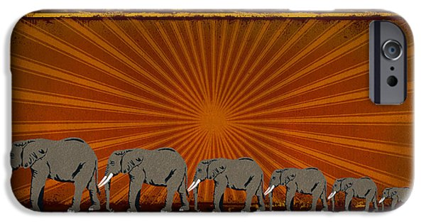 Sun Rays Mixed Media iPhone Cases - Elephants iPhone Case by Bedros Awak