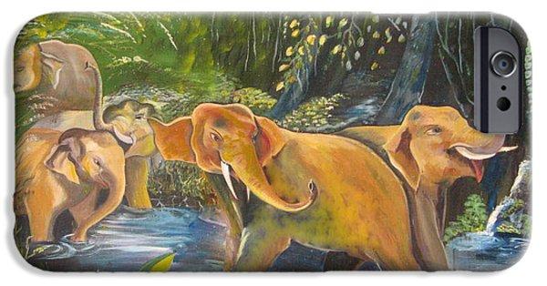 Elephants iPhone Cases - Elephants iPhone Case by Benedict U
