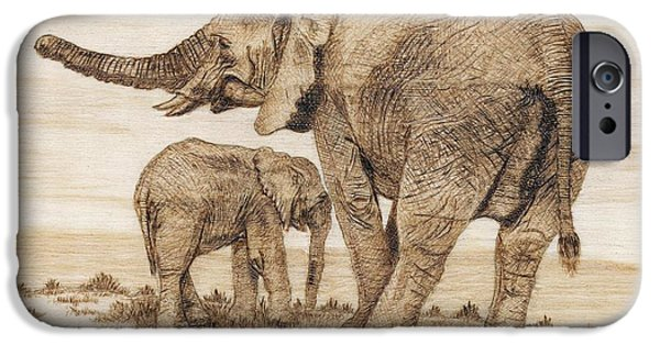 Elephants Pyrography iPhone Cases - Elephants iPhone Case by Danette Smith
