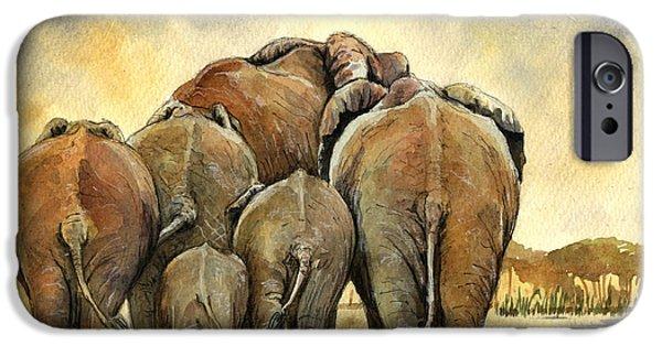 Elephants iPhone Cases - Elephants herd iPhone Case by Juan  Bosco