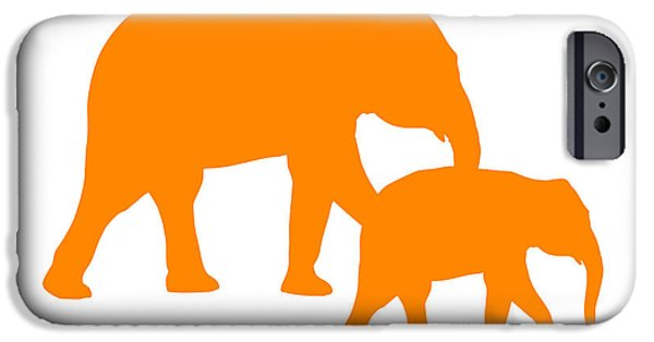 Elephants iPhone Cases - Elephants in Orange and White iPhone Case by Jackie Farnsworth