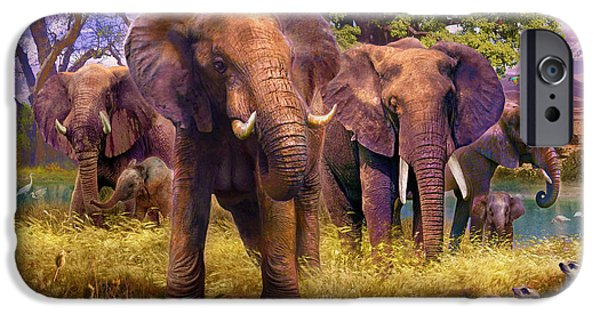 Meerkat Digital Art iPhone Cases - Elephants iPhone Case by Jan Patrik Krasny